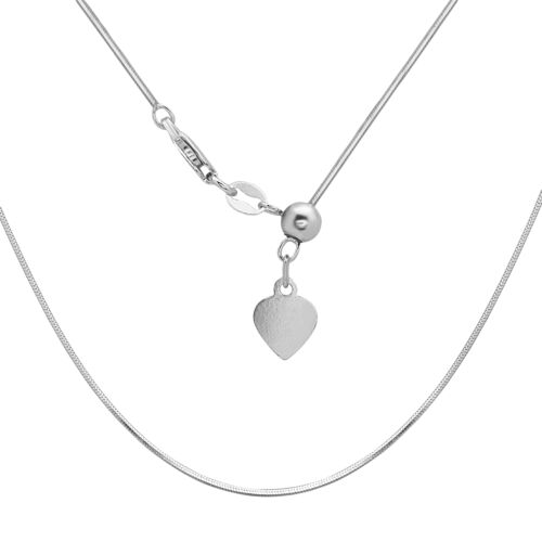 Sterling Silver Italian Square Snake Bolo Adjustable Chain with Heart Charm