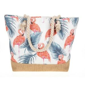 Large-Canvas-Beach-Bag-Pink-Flamingo-Bird-Rope-Handles-Animal-Zipped-LilyRosa