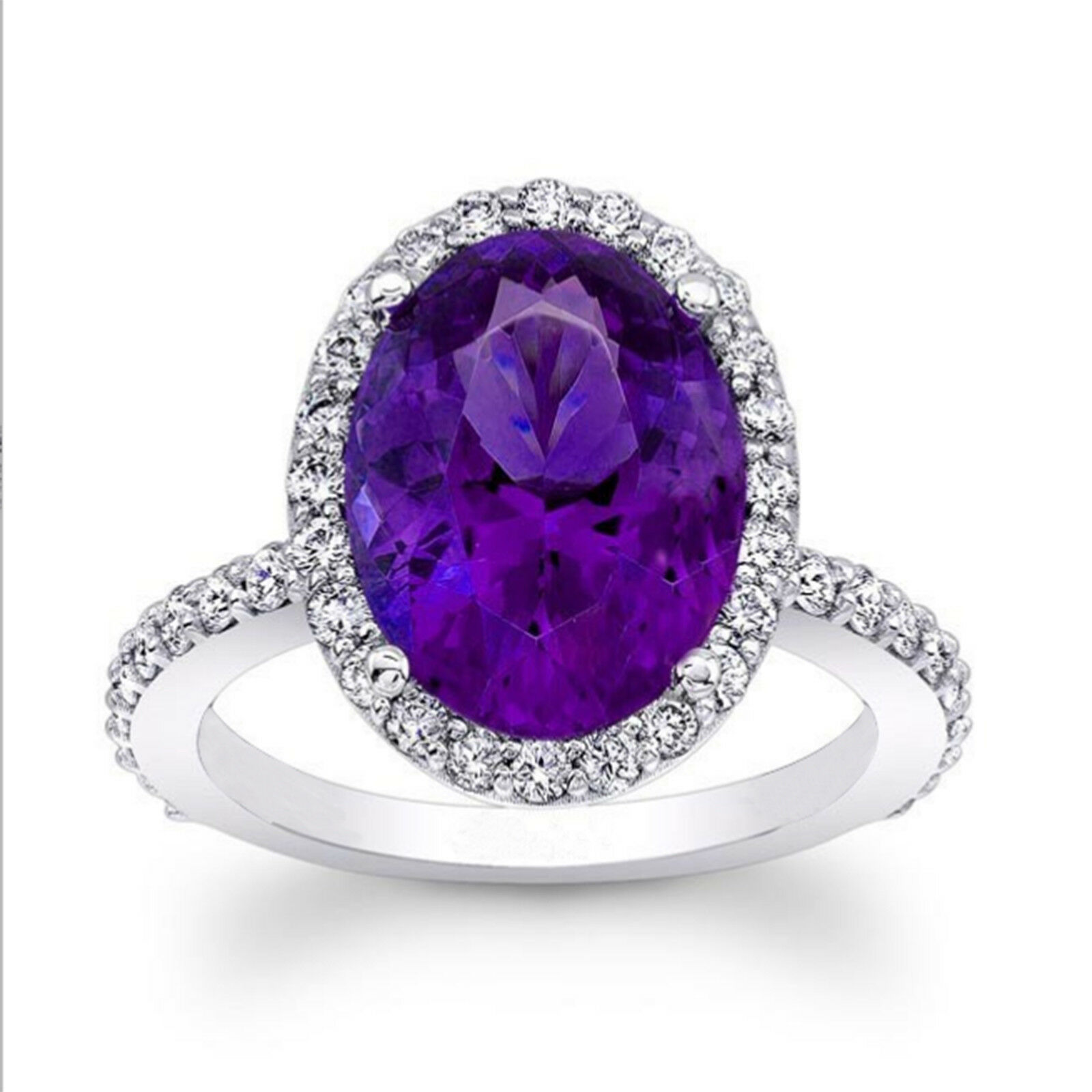 4.50 Ct Oval Cut Amethyst Diamond Ring 14K White gold Engagement Rings Size 6 7