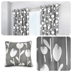 Fusion-ALABAR-Grey-100-Cotton-Ready-Made-Eyelet-Curtains-amp-Cushions