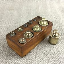 Antique Brass French Apothecary Weights Postal Kitchen Set & Wooden Block Metric