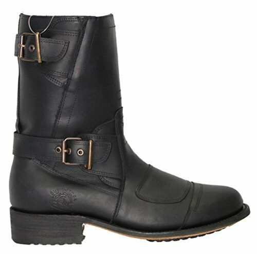 Grinders Route 66 Black Mens Leather Boot Cowboy Western Zipped Pointed Boots