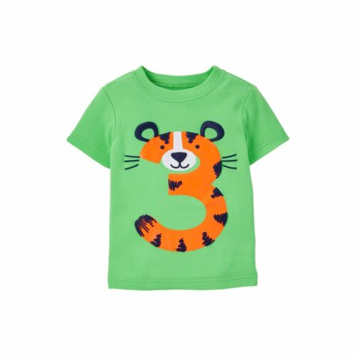 SS Carters Party ~NEW 3rd Birthday TIGER Baby Boys Shirt 4T Green 3 Years Gift