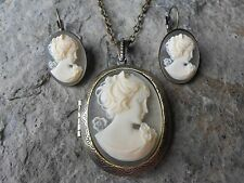 CREAM VICTORIAN WOMAN PORTRAIT CAMEO LOCKET NECKLACE AND EARRINGS SET-VINTAGE LK