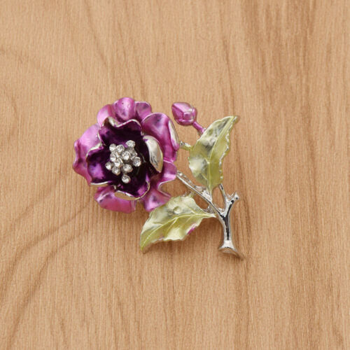 Vintage Esmalte Flor Floral Pin Broche Metal Encanto Joyas Abrigo Suéter Insignia