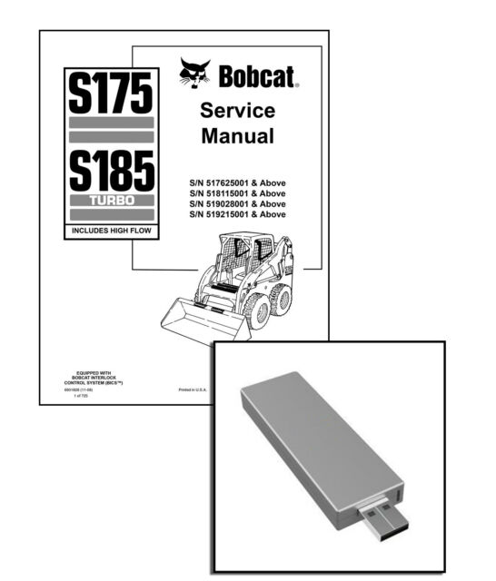 Bobcat S175 and S185 Turbo Highflow Workshop Service Manual USB Stick  Download