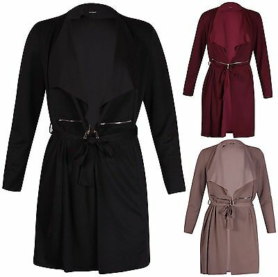 Womens Plus Size Manica Lunga Donna Colletto Belted Zip Plain Giacca Cappotto Lungo Top-mostra Il Titolo Originale Grande Assortimento