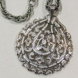Vintage-CROWN-TRIFARI-Necklace-Designer-Signed-Filigree-Estate-Jewelry-Silver