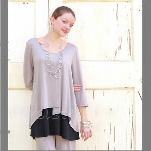 3289499acd3 ET LOIS USA Silky Modal 2-Layer RUBY TUNIC Panel Flap Top S M L XL ...