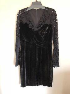 New-Elie-Tahari-Women-039-s-Velvet-and-Lace-Dress-Black-Sizes-4-8-10-498-V52