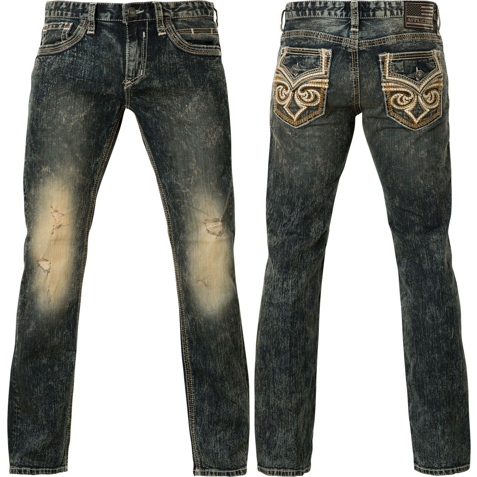 Affliction jeans Ace Fleur cóndor azul oscuro   alta calidad y envío rápido