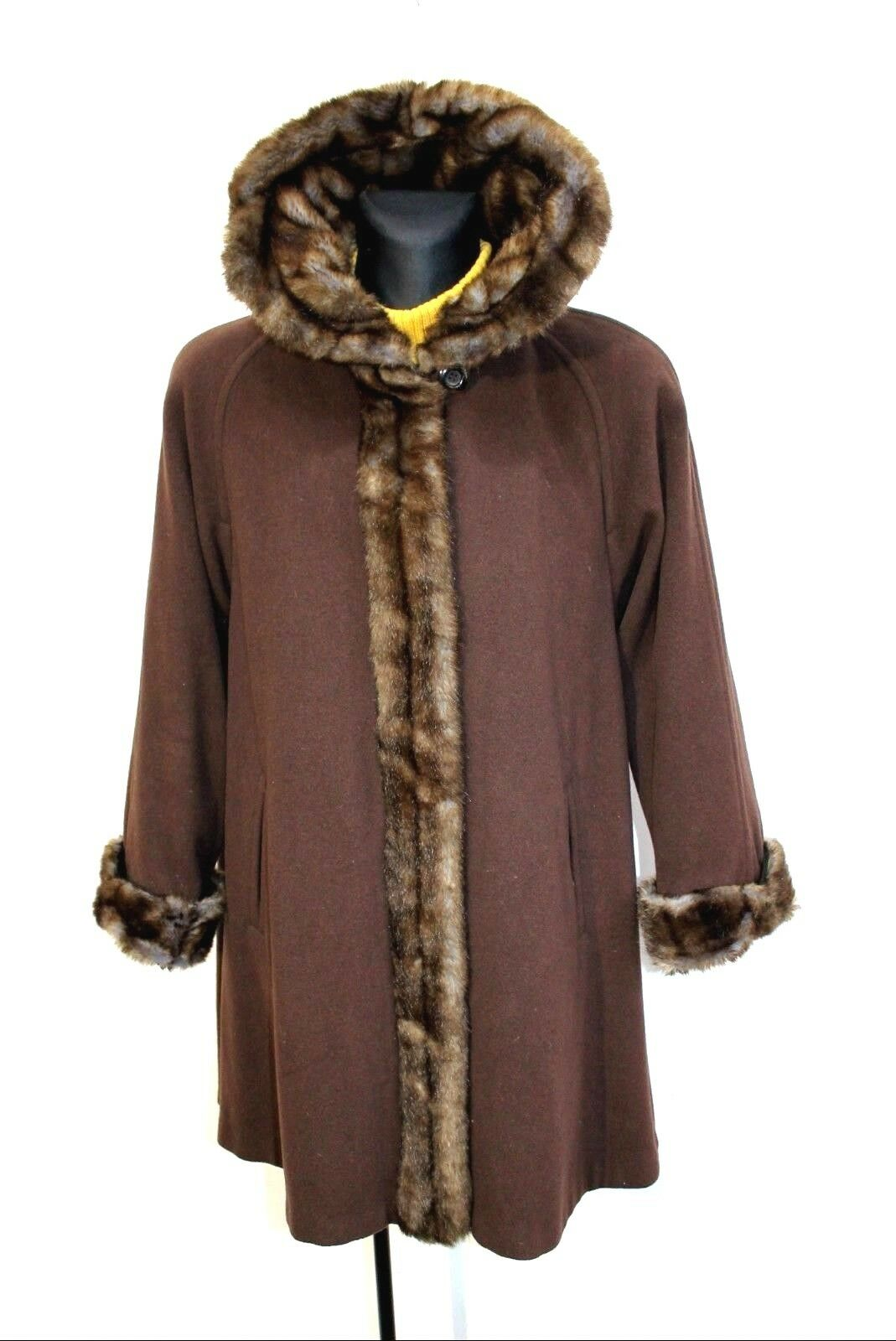 VTG Womens CW ITALY Shearling Wool Cashmere Mid Long Coat Brown US 8