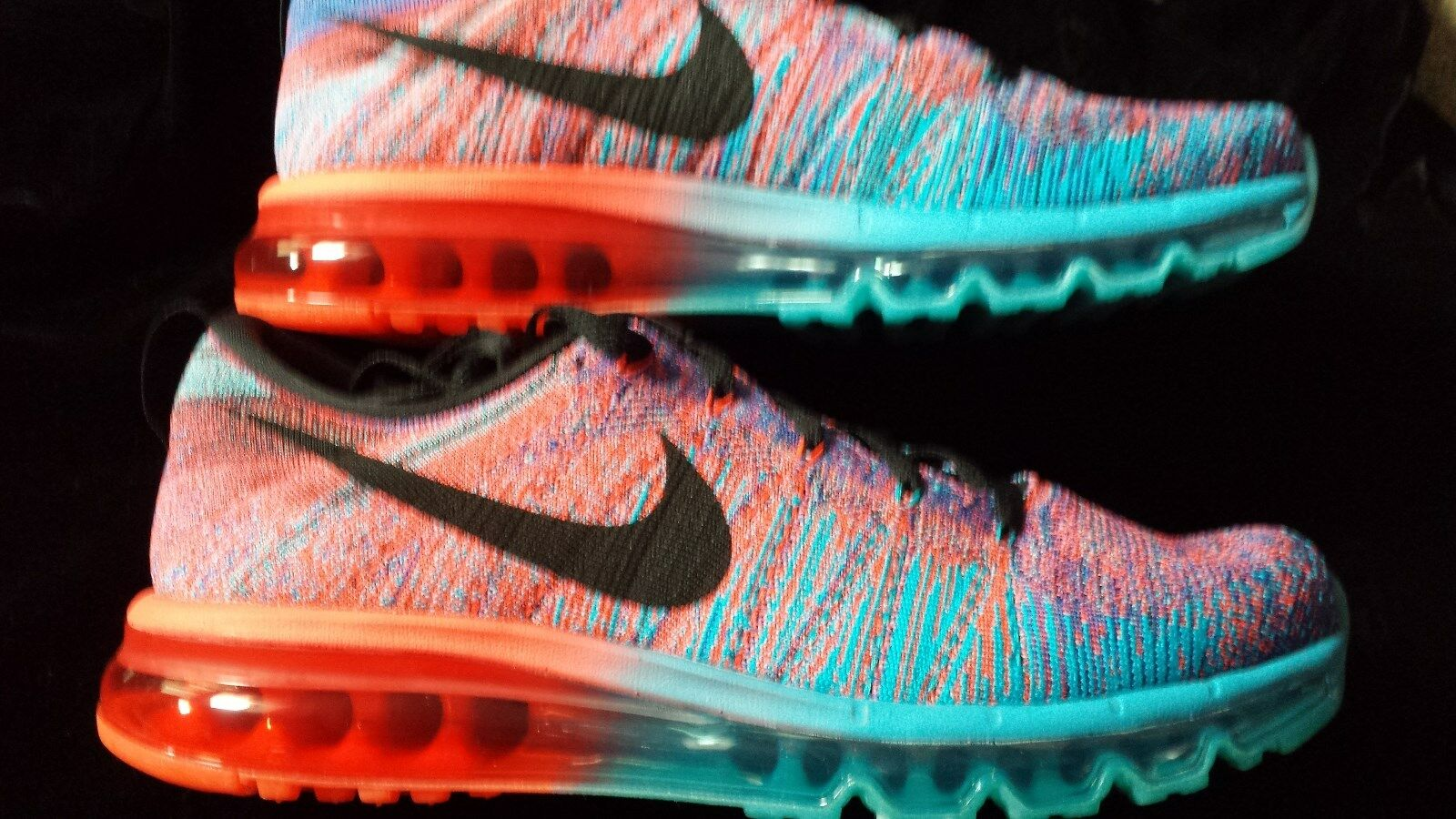 MENS NIKE  FLYKNIT MAX  blueE  RED SZ 10.5