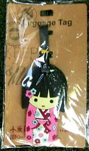 Keep-Calm-amp-Move-On-Pink-Geisha-Girl-Vinyl-ID-Travel-Luggage-Tag-School-Bag-NIP