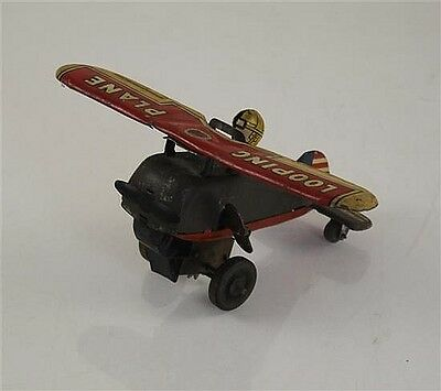 """MARX TIN WIND-UP """"LOOPING PLANE"""" IN WORKING CONDITION, WING SPAN IS 7.5"""" Lot 547"""