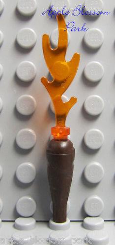 NEW Lego Castle Minifig FIRE TORCH Kingdoms Brown Club Tool w//Trans Orange Flame