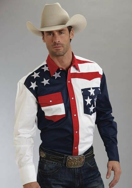 Roper Mens Red White bluee AMERICANA Stars Western Show Dress Rodeo Parade Shirt