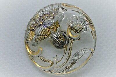 peint Bronze Plat doré Ancien Bouton en forme d/'une fleure XIX°s. 22 mm