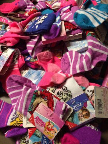 Assorted Disney Character Socks Frozen Sophia...Girls Shoe Size 1-10 Lot Of 30