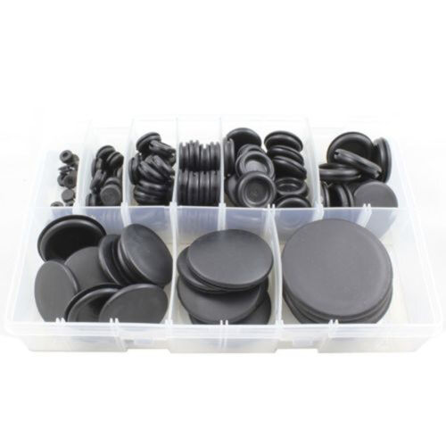 130pcs Black Rubber Closed Blind Blanking Hole Wire Cable Grommets 6mm-50mm MH