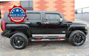 2005-2010-Hummer-H3-Chrome-Stainless-Steel-Rocker-Panel-Trim-5-5-034-4Pcs-Body-Side