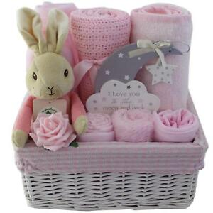 Baby gift baskethamper with flopsy bunny girl baby shower nappy image is loading baby gift basket hamper with flopsy bunny girl negle Choice Image