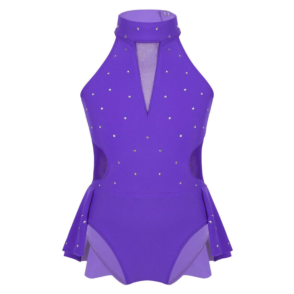 Kids Girls Shiny Lyrical Skating Dress Ballet Modern Dance Leotard Skirt Costume