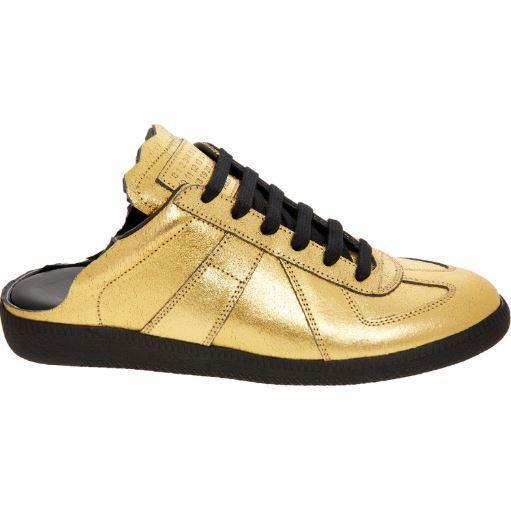 BNIB   MAISON MARGIELA gold Leather Slip On Trainers UK6
