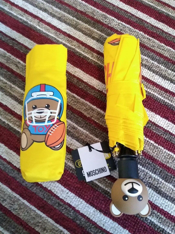 New MOSCHINO Designer Ladies Sunshine Yellow Teddy Bear Automatic Umbrella Gift