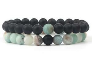 Natural-Stone-8MM-Beads-Lovers-Matte-Meditation-Mala-Amazonite-Bijoux-Femme