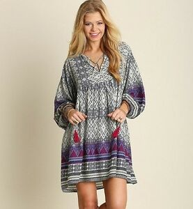 7e0a4fbb5c1 Umgee Dress Size S Boho Boutique Ethnic Print Long Bell Sleeve Swing ...