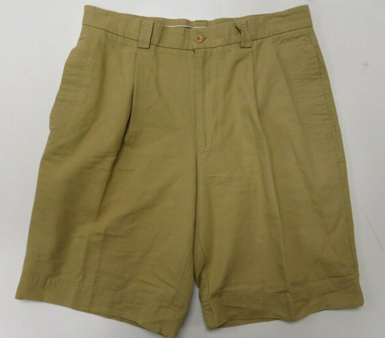 Aquascutum Mens Shorts Sz 32 Beige Khaki Pleated Made in