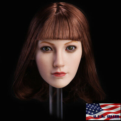 "1//6 Female Head Sculpt Short Brown Hair For 12/"" PHICEN TBLeague Figure U.S.A."