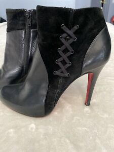 PREOWNED-Size-39-5-Christian-Louboutin-Black-Leather-Round-Toe-Ankle-Boot-Shoes