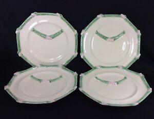 Wms-Sonoma-Bordallo-Pinheiro-Asparagus-Plates-x4-Green-Portugal-Octagon-10-Inch