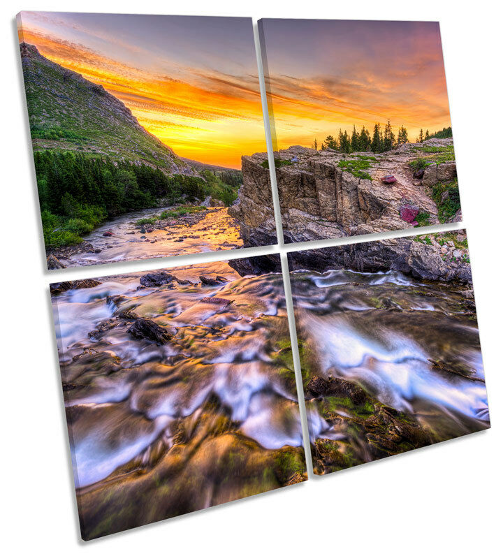Landscape Mountain River Sunset MULTI CANVAS Wand Kunst Square Drucken