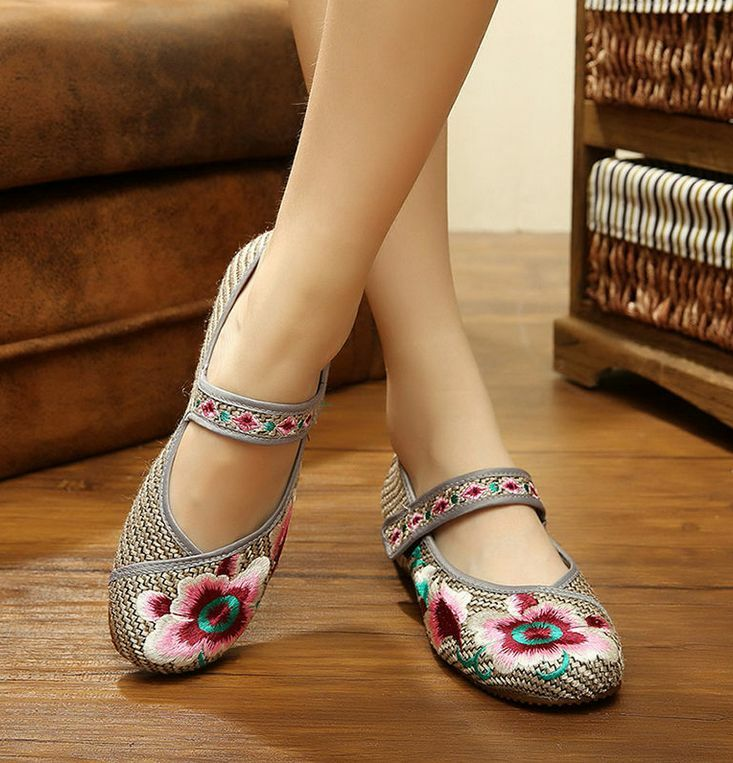 Women/'s Chinese Embroidered Shoes Floral Oxfords Sole Loafer Flat Sandals C18