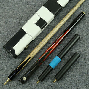60-034-034-Grand-034-3-4-Jointed-Ash-Shaft-Black-Ebony-Handmade-Snooker-Cue-Set-YP61