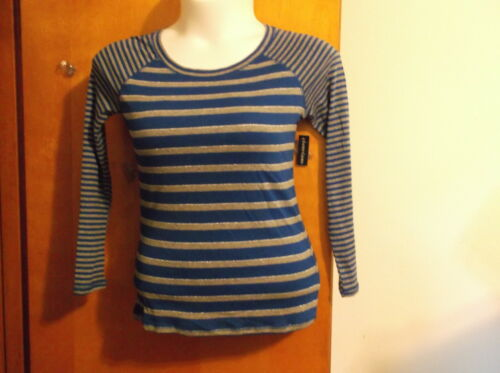 "NEW  /""FADED GLORY/"" LADY/'S TWIN STRIPED RAGLAND LONG SLEEVE BLUE /& GRAY T/' SHIRT"