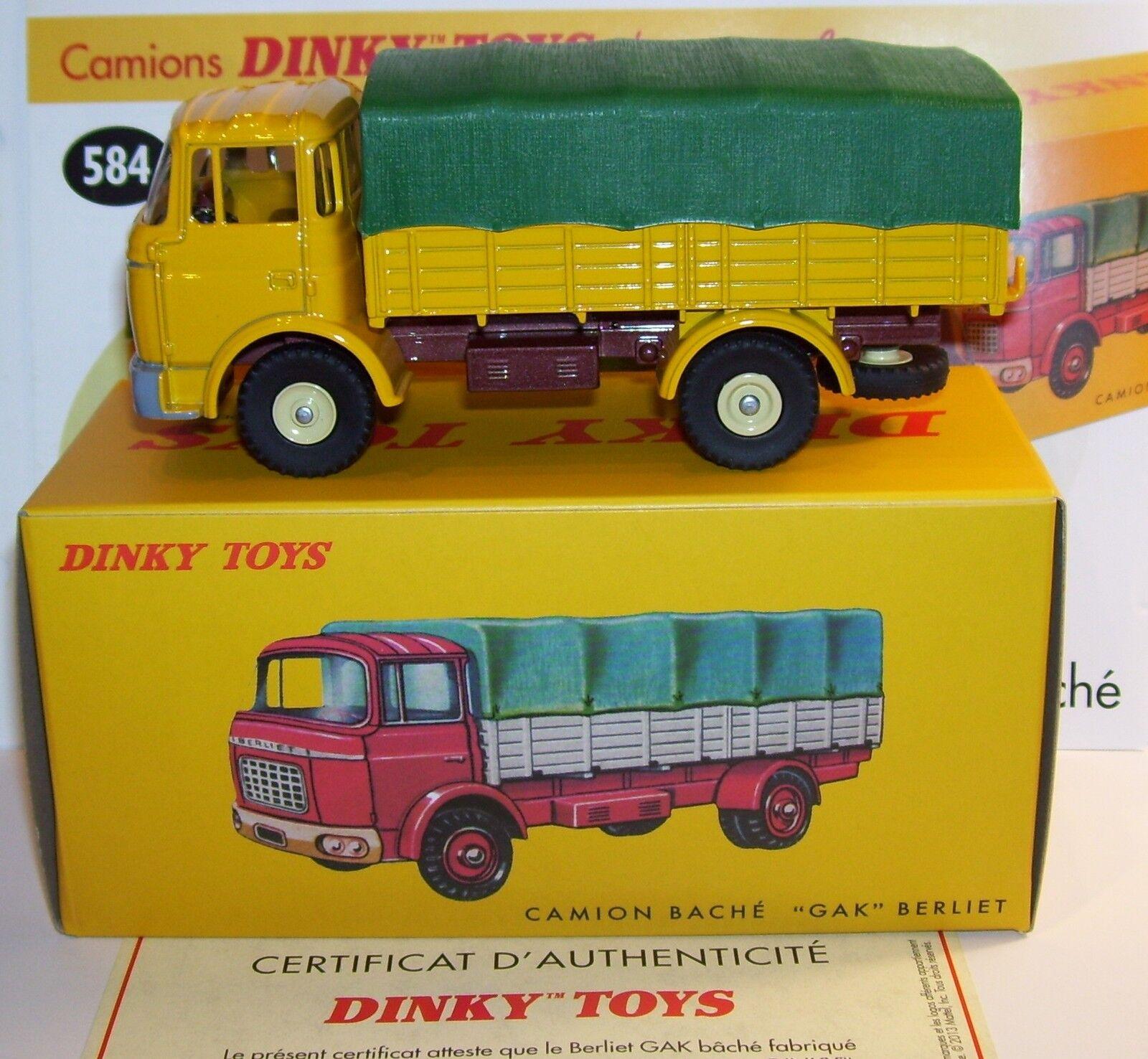 DINKY TOYS ATLAS CAMIÓN BERLIET GAK AMARILLO COBERTOR verde REF 584 EN BOX 1 43