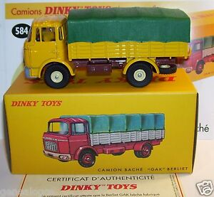 dinky toys atlas camion berliet gak jaune bache verte ref 584 in box 1 43 neuf ebay. Black Bedroom Furniture Sets. Home Design Ideas