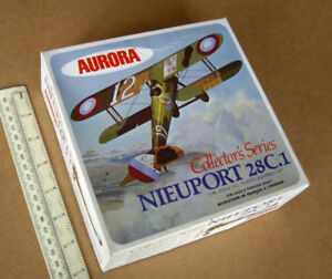 1970s-Vintage-Aurora-Canada-Nieuport-28C-1-French-Fighter-WW1-Boxed