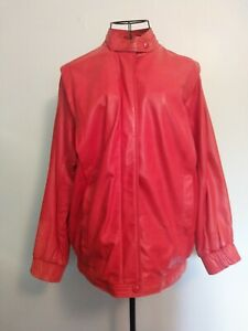 Vintage-Red-Leather-Blouson-Style-Ladies-Jacket-very-MJ-Retro-fancy-dress
