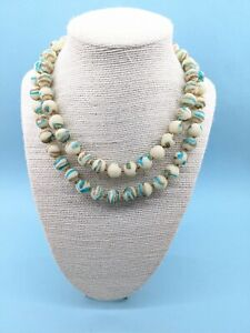 Vintage 1950s HONG KONG Multi Strand Lucite Textured Bead Statement Bib Necklace