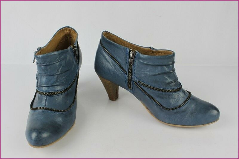 Bottines Boots TEXTO Cuir blue T 36 TBE