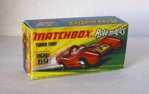 Repro Box Matchbox Superfast Nr.69 Turbo Fury gelbe Box