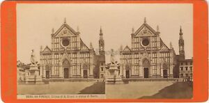 Florence Firenze Chiesa S.Croce Italia Foto Stereo Vintage Albumina