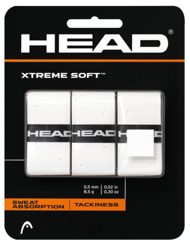 3 Head Xtreme Soft Grips//Overgrips White Free P/&P