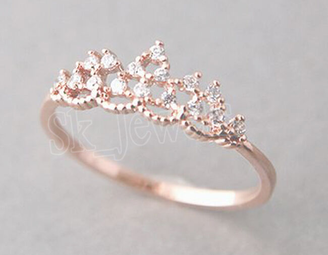 0.32ct NATURAL ROUND DIAMOND 14K SOLID pink gold CLUSTER RING IN SIZE 7 TO 9