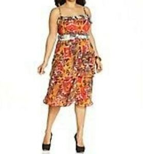 8c1ad33427701 Nine West Dress Sz 14W Orange Multi Color